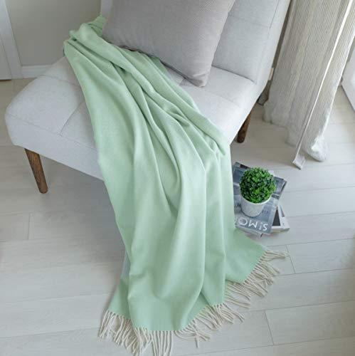 Linen & Cotton Manta Sofa/Mantas de Cama STONEWOLD - 100% Pura Lana Merino, Verde Menta (140 x 200cm) Plaid/Blanket/Funda Single Matrimonial de Lana Oveja Ideal para el Invierno