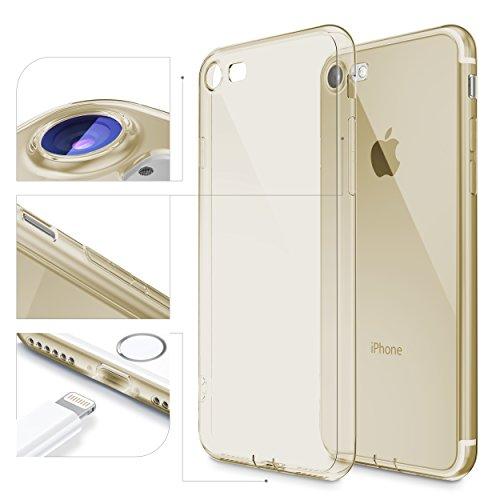 Urcover® Kameraschutz Schutz-Hülle kompatibel mit Apple iPhone 7 | TPU/Silikon Handyhülle Champagner Gold | Flexibel Ultra Slim Dünn | Back-Hülle | Soft Crystal Cover Schale