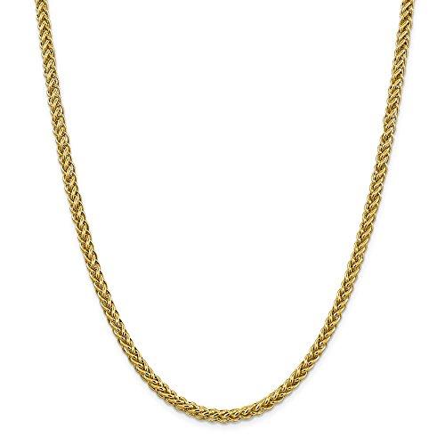 Diamond2deal 14K giallo oro 4.65mm semi Solid Wire frumento catena collana 55,9cm