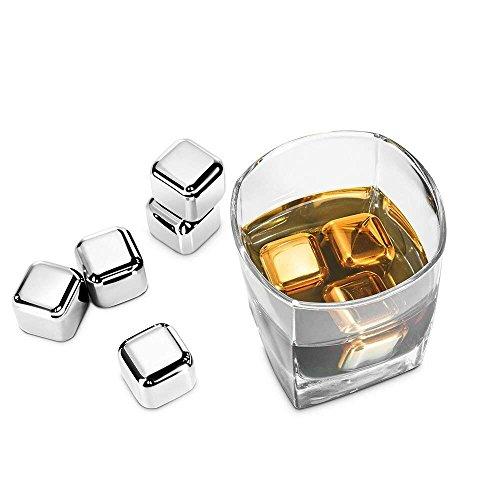 SONGYAN Cubitos de hielo metálicos reutilizables para enfriar bebidas,Enfria tus bebidas sin que se agüen,para Whisky Congelado Reutilizable