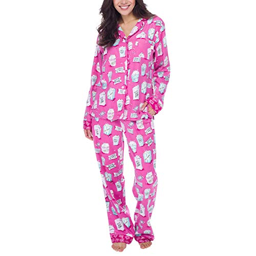 munki munki Women's 2-Piece Flannel Pajama Set, Pink, XX-Large