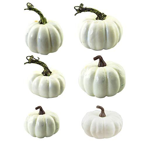 Halloween Artificial Mini Pumpkins Foam White Thanksgiving Autumn Harvest Pumpkin Decorations Prop 6pcs Home Accessories