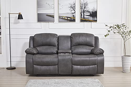 Betsy Furniture Power Reclining Bonded Leather Living Room Set (Grey, Loveseat)