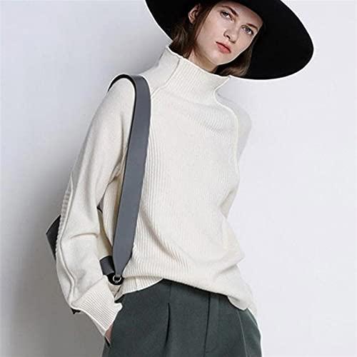Damskie Turtleneck Swetry Zagęszczone Pullover Casual Loose Duży rozmiar Bluzki z dzianiny *# (Color : White, Size : Large)