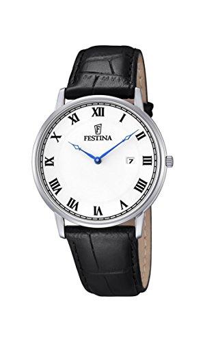Festina–Reloj con Mecanismo de Cuarzo para Hombre Color Blanco Esfera analógica Pantalla y Correa de Cuero Negro f6831/3