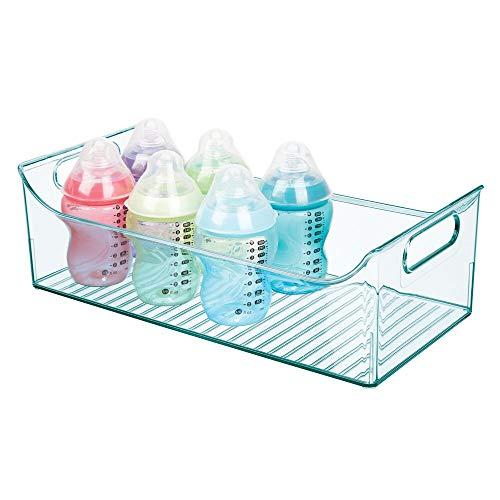 mDesign Cestas organizadoras para cuarto de bebé – Contenedor plástico grande con prácticas asas y sin tapa – Amplia caja para juguetes o pañales en plástico libre de BPA – azul claro