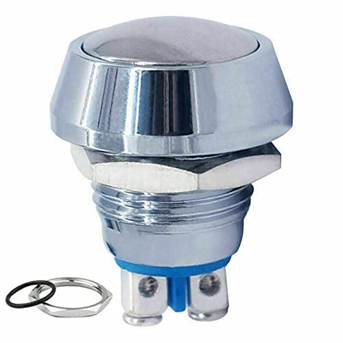 Mini pulsador plateado de claxon, tornillo de 2 pines, de acero inoxidable, cabeza plana, resistente al agua IP65, botón redondo temporal, 12 V – 250 V (plata)