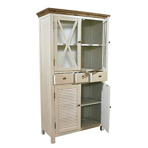 Landhausmöbel - Vitrinenschrank Loire - Landhausschrank Vintage Look Creme weiß