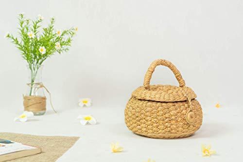 Handgefertigte Strandtasche aus Korbgeflecht, oval, mit Knöpfen