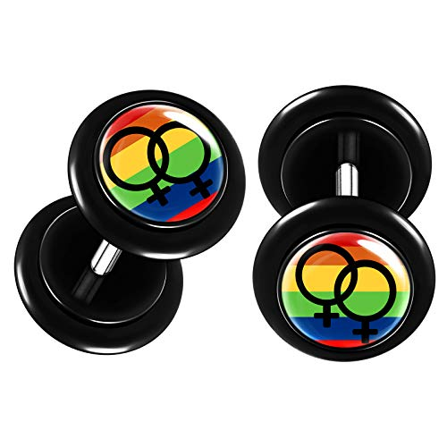 BIG GAUGES Pair of Black Acrylic 16g Gauge 1.2mm 0g 8mm Lesbian Pride Fake Plugs Piercing Earring O-Rings Cheater Illusion Ear BG8800