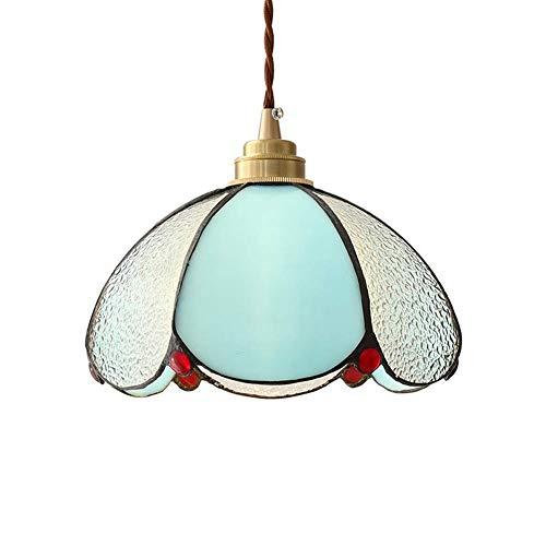 Lámpara colgante creativa de Tiffany de estilo mediterráneo Lámpara colgante decorativa de techo de metal E27 Pantalla de vidrio soldado artificial