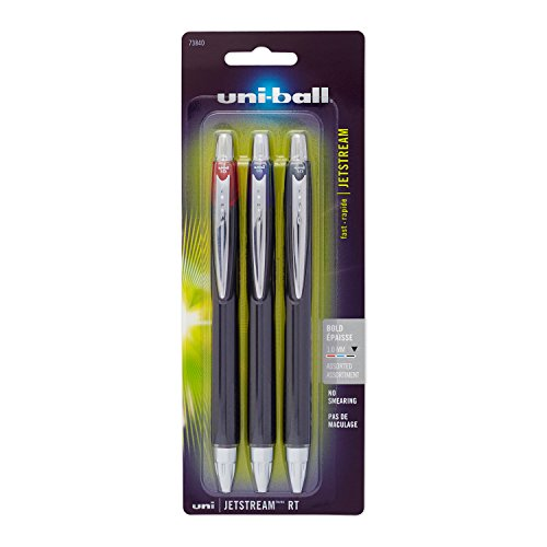 uni-ball Jetstream RT Ballpoint Pens, Bold Point (1.0mm), Assorted Colors, 3 Count