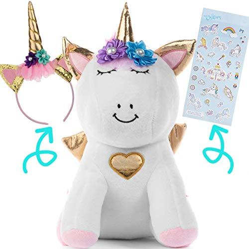 Unicorn Stuffed Animal for Girls - Unicorn Gifts for Girls - with Headband and Stickers with Plush Stuffed Unicorn