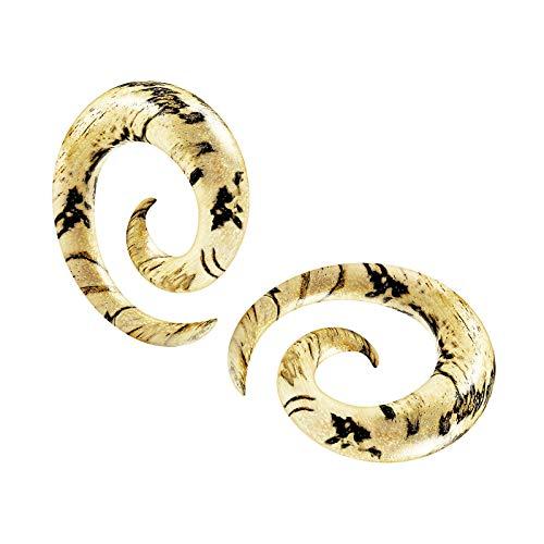 BanaVega 2 piercings de madera con espiral de tamarindo en espiral para oreja, piercing de dilatación, joyería a elegir tamaños