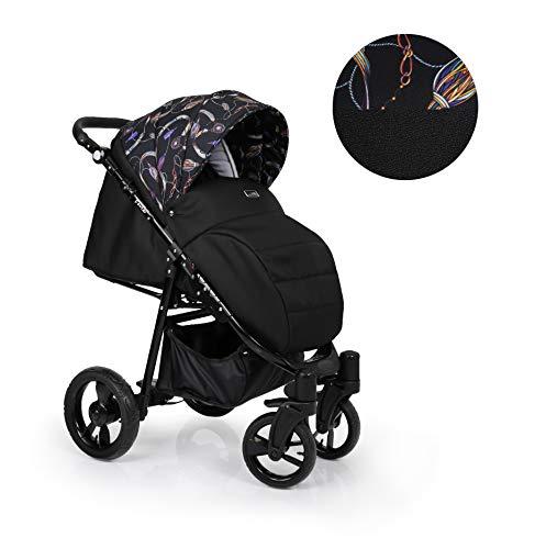 Clamaro 'Foxter' Kinderwagen Sportwagen Buggy mit Liegefunktion, Aluminium Rahmen zusammenklappbar, 360° Schwenkräder, verstellbare Griffhöhe, Rückenlehne und Fußablage - Rahmen: Schwarz, Design: 6
