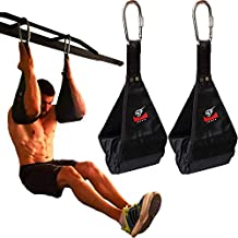 Premium Ab Slings Straps - Rip-Resistant Heavy Duty Pair for Pull Up Bar Hanging Leg Raiser Fitness with Big D-Ring Steel Quick Connectors, Superb Arm Padding for Abdominal Training Workout Equipment