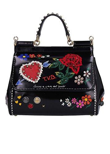 DOLCE E GABBANA Damen Bb6002ai585hnf27 Schwarz Leder Handtaschen