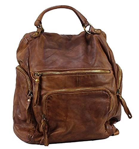 BZNA Bag Stella cognac vintage Backpacker Designer Rucksack Damenhandtasche Schultertasche Leder Nappa sheep ItalyNeu