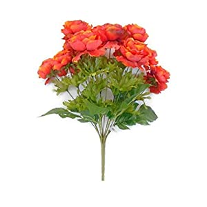 GF Artificial Silk Flowers Ranunculus Bush 12 Stems 18″ Bouquet Orange Color MG019