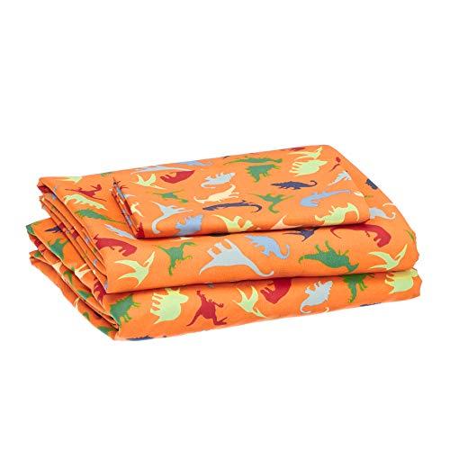 Amazon Basics Kids Dinosaur Squad Soft, Easy-Wash Microfiber Sheet Set - Twin, Oh So Orange Dinosaurs