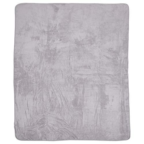 done Wohndecke Kuscheldecke aus Teddystoff - Tagesdecke einfarbig mit Saum - 150 x 200 cm - waschbar, Farbe:Stone