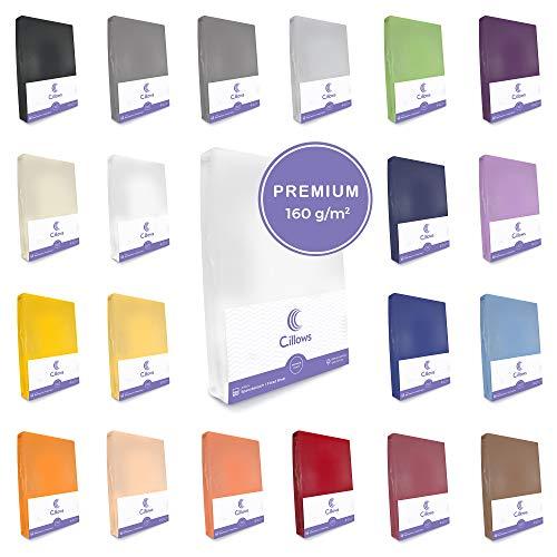 Celsius Jersey Spannbettlaken Spannbetttuch 140x200-160x220 cm 100% Baumwolle Bettlaken Farbe: Weiss 160 g/m2 Qualität