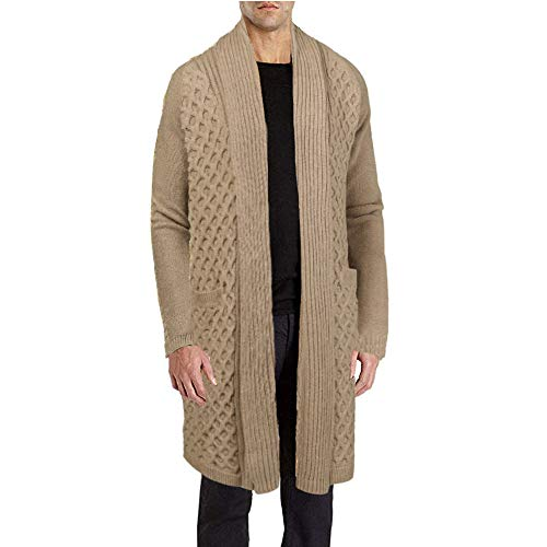 JINIDU Men's Knitwear Open Front Shawl Cable Knit Cardigan Sweater with Pockets Khaki