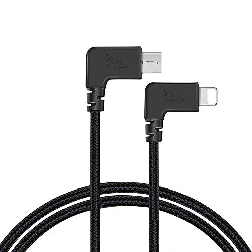 RCstyle Mavic Spark OTG Cable for iPhone to Micro USB Cable Cord Perfect Size Right Angle Nylon Adapter Compatible with DJI Mavic Mini/Mavic 2 Pro/Zoom/Mavic Air/Pro/Platinum Controller 1ft