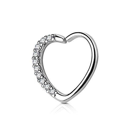 Kultpiercing - Helix Piercing - Herz mit Kristallen - Tragus Septum Ear Cartilage Ohrpiercing Daith Hoop Ring - Silber
