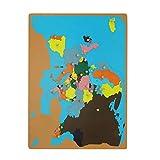 XIANLIAN Puzzle Map of Europe, Montessori Geography Map Frame Map Puzzle - 58x45cm Mapa Interactivo/Madera, para niños y niñas de 3 a 6 años de Edad KidsTeaching Map (El Mundo y Europa)