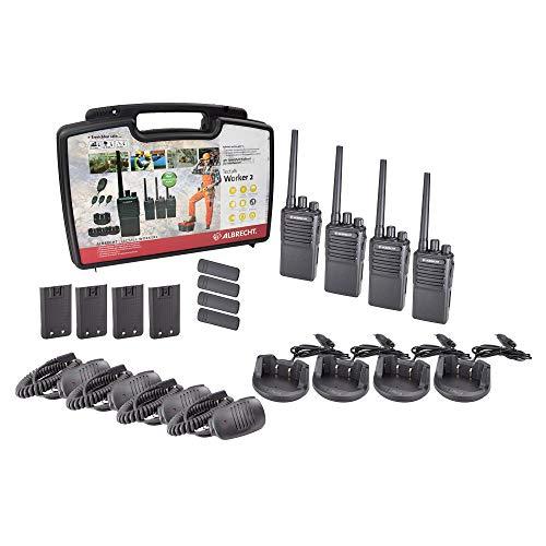 Albrecht Tectalk Worker 2 4er-Kofferset, 29836, 4 PMR446-Funkgeräte, robuste Walkie-Talkies für Baustelle, Security, Betrieb, Outdoor, inkl. Zubehör