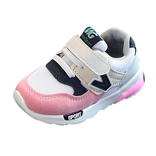 Moonker Toddler Boys Girls Athletic Sneakers Kid Outdoor Mesh Strap Light Weight Sport Running Walking Shoes 0-9Years (12-24 Months, Pink)