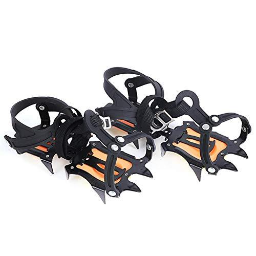 Raquetas De Nieve Picos Ajustable Hielo Nieve Antideslizante 10 Púas Dentadas Crampones Cubre Zapatos Escalada Al Aire Libre Antideslizante Crampones Zapatos Naranja