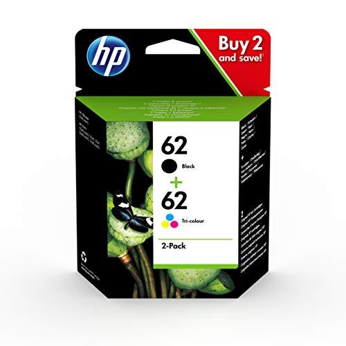 HP 62 N9J71AE, Negro y Tricolor, Cartuchos de Tinta Originales, Pack de 2, compatible con impresoras de inyección de tinta HP ENVY 5540, 5640, 7640; OfficeJet 5740