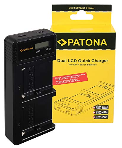 PATONA Cargador Doble LCD para NP-F970 F550 F750 FM50 FM500H baterías Compatible con Sony DCR-TRV, CCD-TRV, MVC-FD Serien
