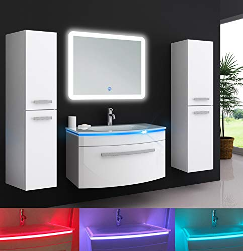Oimex Jasmin 90 cm Badmöbel mit LED Spiegel + 2X Seitenschrank Hochglanz Weiß Badezimmer Set mit viel Stauraum LED Waschtisch Glaswaschbecken