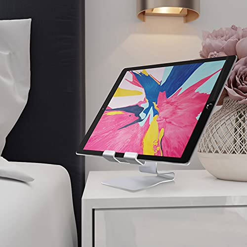 NessKa Soporte de mesa para tablet o mesita de noche, para eBook oficina, cocina, soporte para iPad 10.2 10.9 Air Pro, Samsung Galaxy Tab A A7 S6 S7, Huawei, Nintendo Switch, etc. | Plata