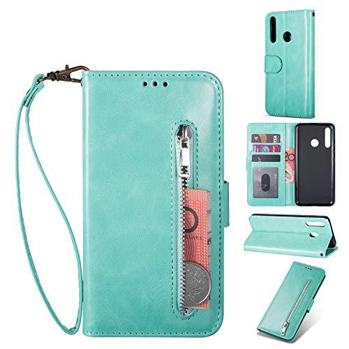ZTOFERA Huawei P Smart 2019 Hülle, Magnetisch Folio Flip Wallet Leder Standfunktion Reißverschluss schutzhülle mit Trageschlaufe, Brieftasche Hülle für Huawei P Smart 2019 - Minzgrün