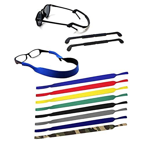 QEEQPF 10 piezas de correas de neopreno antideslizantes para gafas (incluidas dos correas de silicona para gafas), utilizadas para deportes de natación, gafas de sol, gafas de lectura y antiparras. 🔥