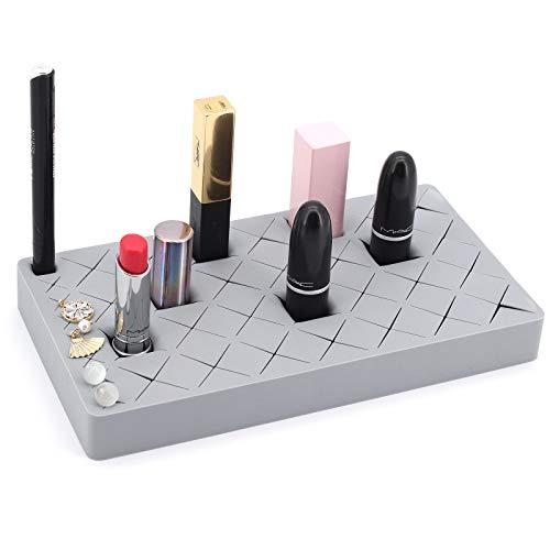 ShawFly - Supporto per rossetto, soluzione per trucco, 36 griglie, in silicone, per rossetto, matite per sopracciglia e pennelli da trucco, contenitore creativo per desktop (grigio)