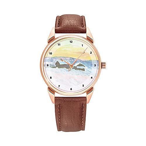 Claude Monet Monet - Reloj de pulsera para hombre, de piel marrón, diseño de Paysage of Norway, las casas azules