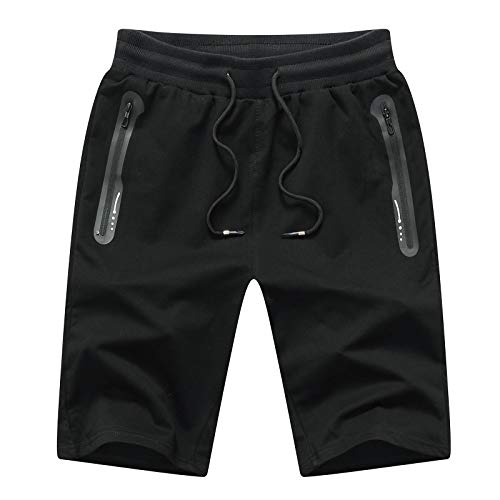 JustSun Pantalones cortos deportivos para hombre, de algodón, con bolsillos con cremallera Negro XXL