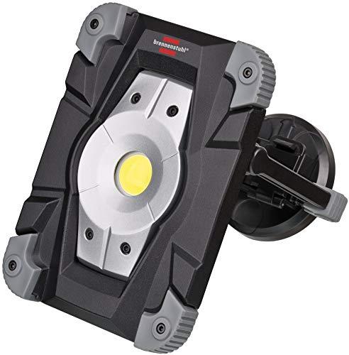 Brennenstuhl Projecteur LED Rechargeable 20W avec feu de signalisation LED (2000 Lumen, utilisation en interieur et Extérieur IP54, 2 Modes Eclairage, Autonomie Max 6H), Noir