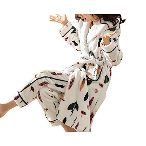 Loungewear - Juego de ropa de dormir para mujer, con bolsillos, albornoz de forro polar coral suave para playa, hotel, dormitorio, albornoces para mujeres (color: blanco, tamaño: XXXL)