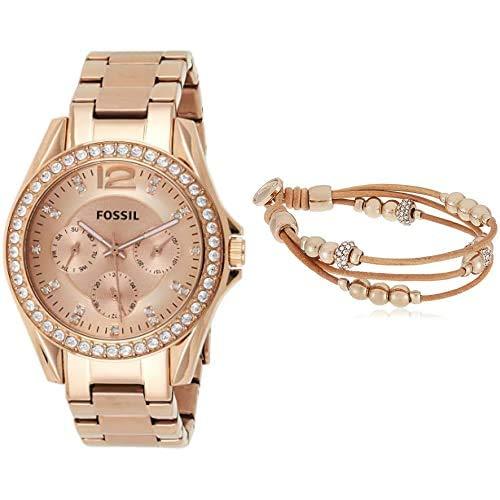 Fossil Damen Analog Quarz Uhr mit Edelstahl Armband ES2811 + FOSSIL Damen-Armbänder & Armreifen Edelstahl Rundschliff Oxyde de Zirconium