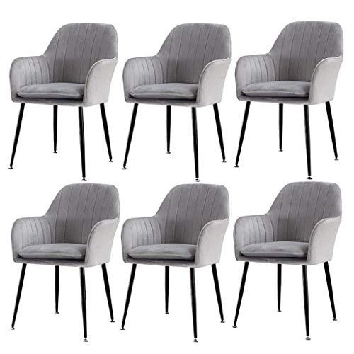 HYZXK Juego de sillas de Comedor de 6 sillas auxiliares de Cocina tapizadas en Terciopelo Cojín Acolchado Sillas de Ocio con Acento Moderno Taburete de Maquillaje (Color: Navy Grey, Tama