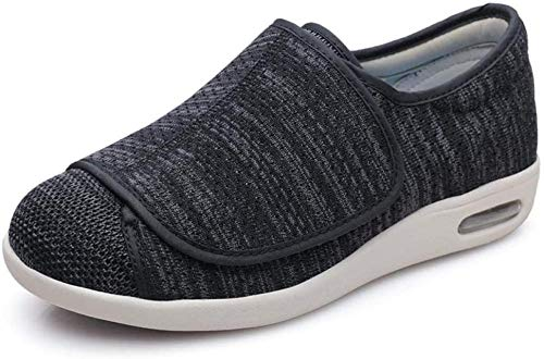 B/H Calzado OrtopéDico Ajustable para Artritis,Zapatos Sueltos para pie diabético, Zapatos de Tela en valgo del Pulgar-Gris Oscuro_38,Zapatilla DiabéTica Sin Cordones para Mujer