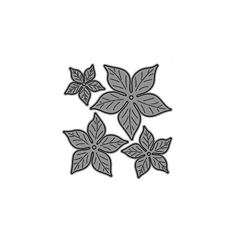 Luo-401XX, fustelle da taglio in metallo a forma di fiore di poinsezia per album per ritagli, bigliettini e decorazioni cartacee Argento