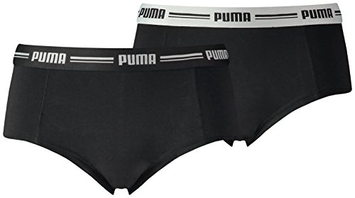 PUMA Damen Unterwäsche Iconic Mini Shorts 2P, Black, L, 573010001