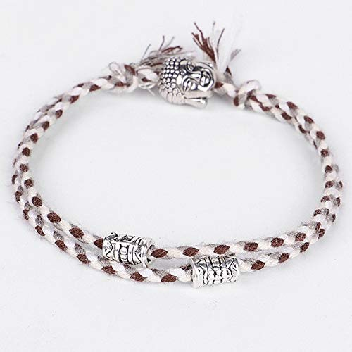 K-ONE Amuleto Ajustable Tejido Afortunado Budista Tibetano Pulseras y brazaletes de Cuerda Tíbet para Mujeres Hombres Cuerda Hecha a Mano Buda-Cabeza de Buda Blanca